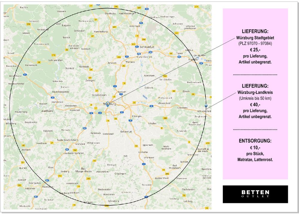 Landkreis Würzburg Karte.Leistungen Und Vorteile Im Würzburger Betten Outlet